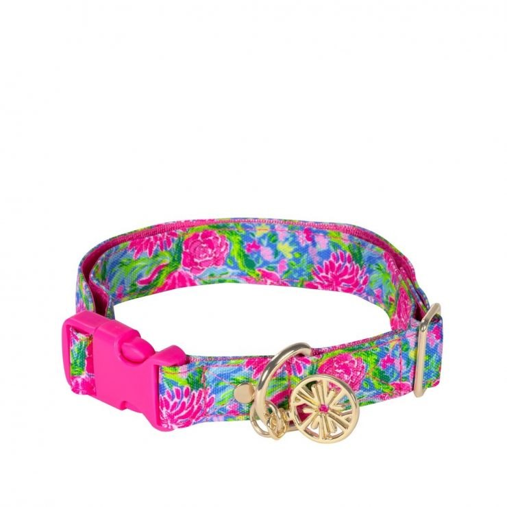A photo of the Lilly Pulitzer Dog Collar In Bunny Business - M/L product