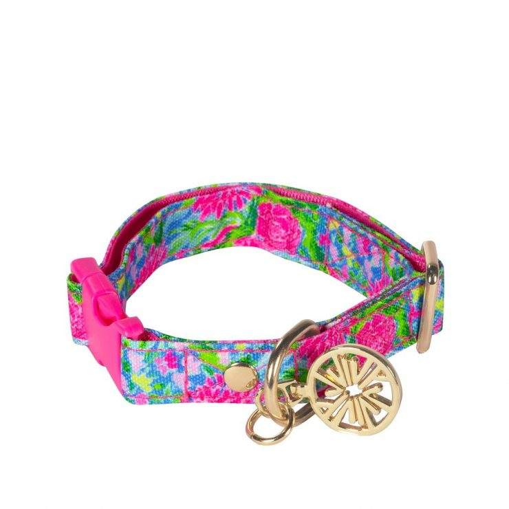A photo of the Lilly Pulitzer Dog Collar In Bunny Business - S/M product