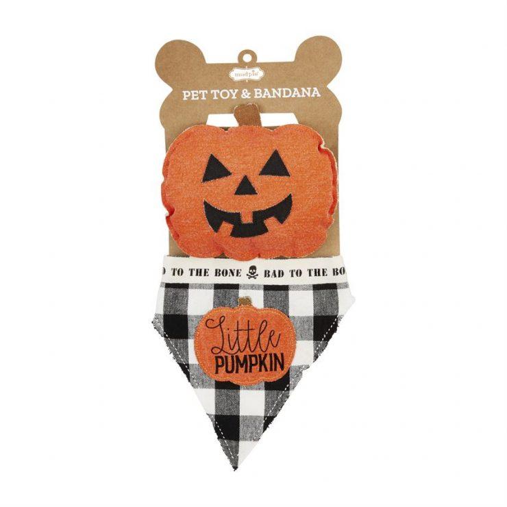 A photo of the Pet Toy & Bandana Set - Pumpkin product