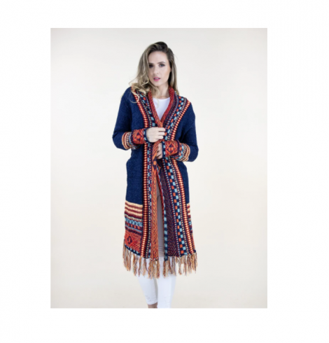 A photo of the Aztec Tribal Cardigan With Fringe Bottom product