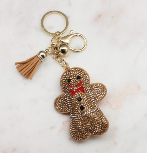 A photo of the Rhinestone Gingerbread Keychain product