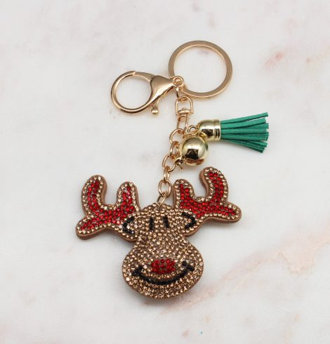 A photo of the Rhinestone Rudolph Keychain product