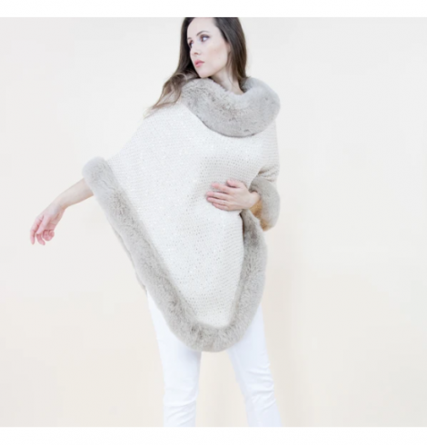 A photo of the Sequin Crochet Poncho With Faux Fur Trim product