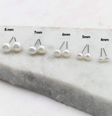 A photo of the Sterling Silver Pearl Studs product