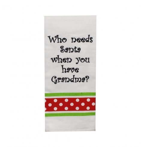 A photo of the Who Needs Santa Kitchen Towel product