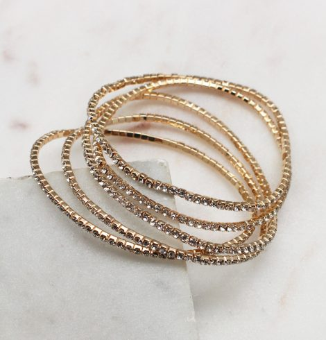 A photo of the Rhinestone Bracelet Stack In Gold product