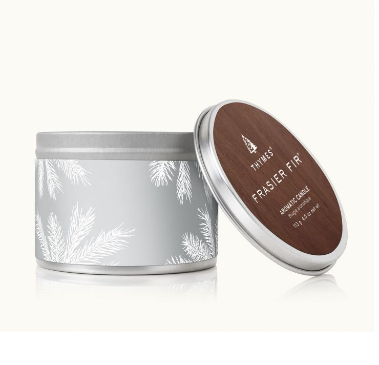 A photo of the Frasier Fir Statement Silver Candle Tin product