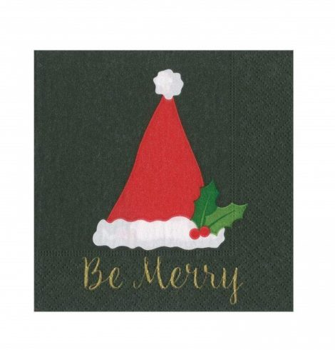 A photo of the Be Merry Cocktail Napkins In Black product
