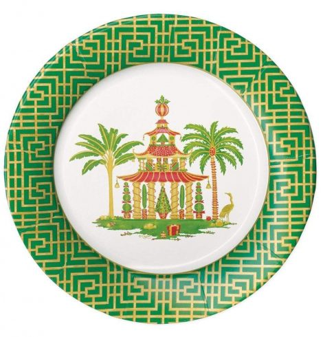 A photo of the Christmas Pagodas Paper Dinner Plates product