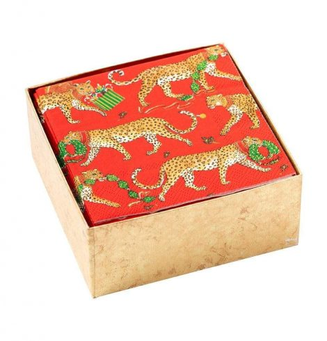 A photo of the Christmas Leopards Boxed Cocktail Napkins in Red product