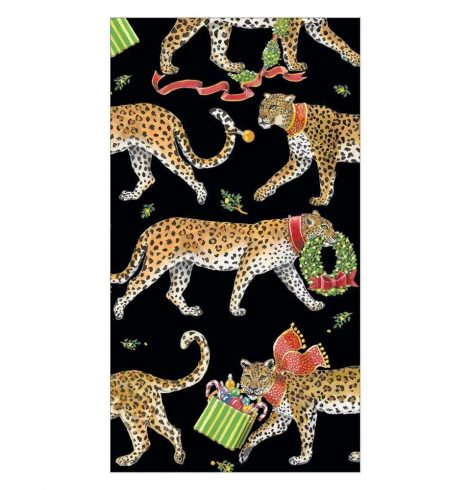 A photo of the Christmas Leopards Guest Towel Napkins in Black product
