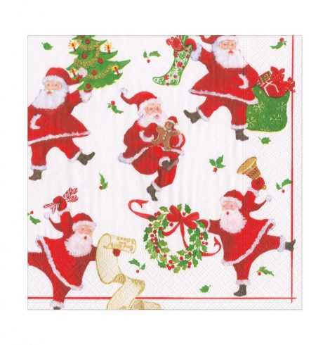 A photo of the Dancing Santas Luncheon Napkins product