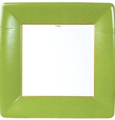 A photo of the Grosgrain Square Paper Dinner Plates In Moss product