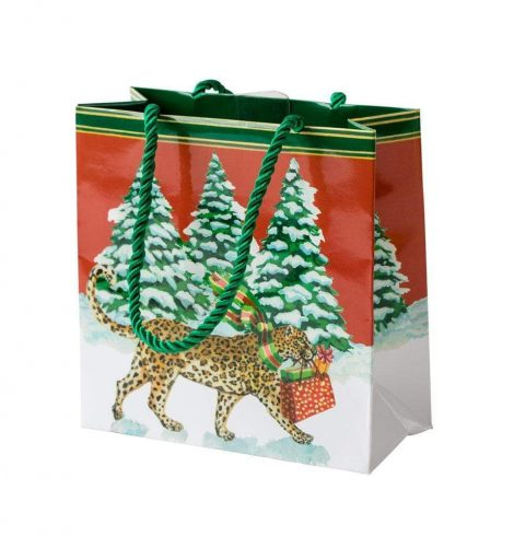 A photo of the Christmas Leopards Small Square Gift Bag product