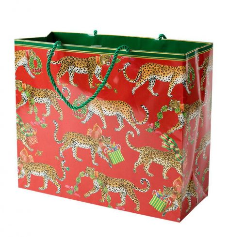 A photo of the Christmas Leopards Large Gift Bag product