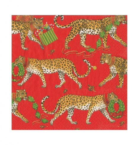 A photo of the Christmas Leopard Luncheon Napkins In Red product