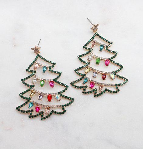 A photo of the Christmas Lights Rhinestone Earrings product