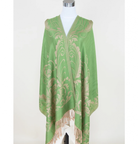 A photo of the Lime Green Floral Pashmina product