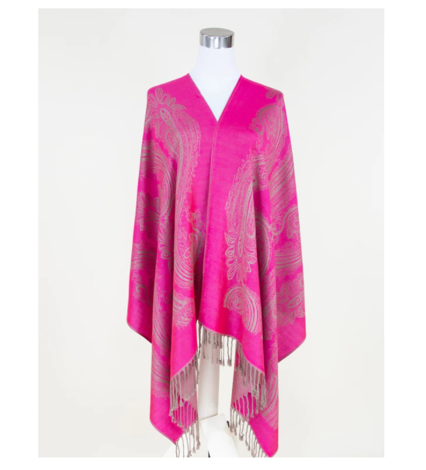 A photo of the Hot Pink Paisley Pashmina product