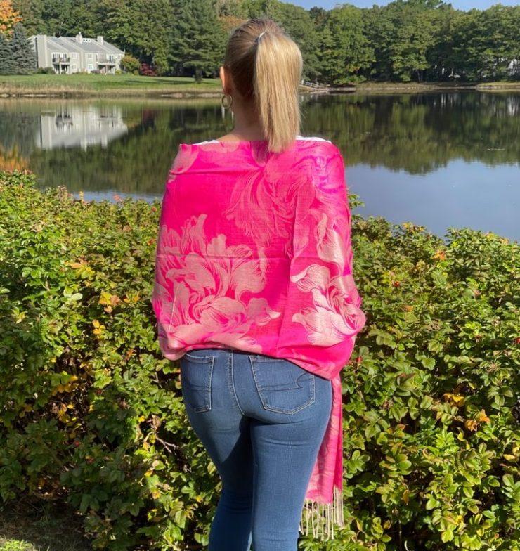 A photo of the Fuchsia Rose Pashmina product