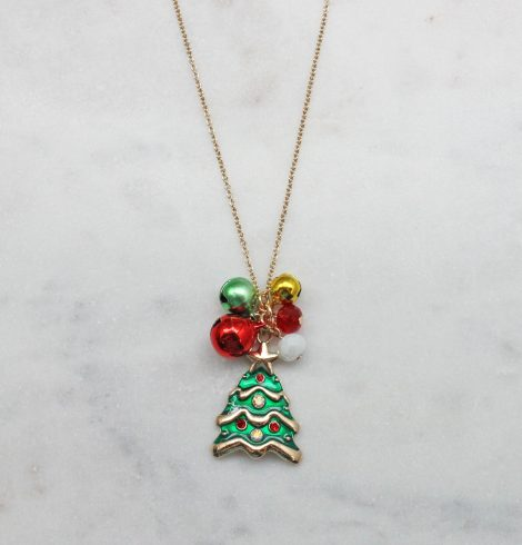 A photo of the Jingle Bell Tree Necklace product