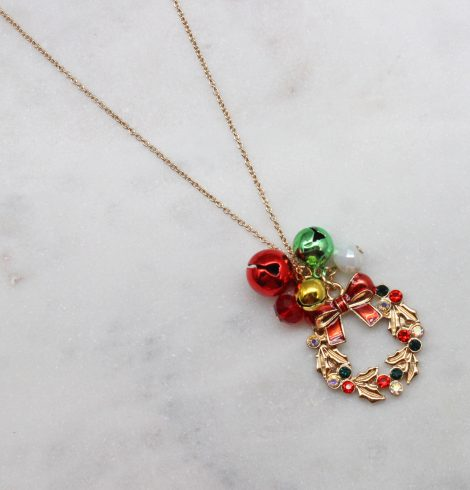 A photo of the Jingle Bell Wreath Necklace product