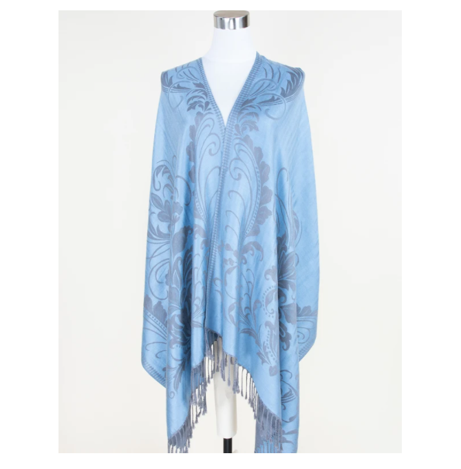 A photo of the Light Blue Floral Pashmina product