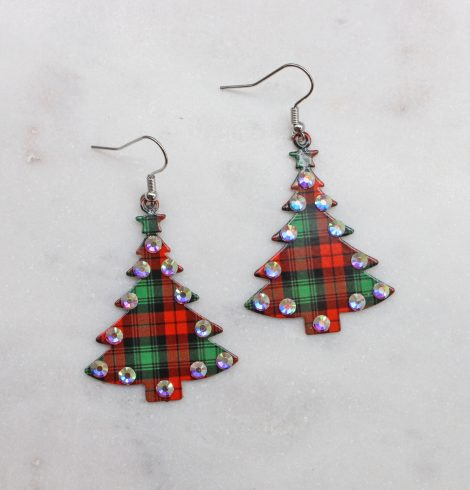 A photo of the Plaid Christmas Tree Earrings product