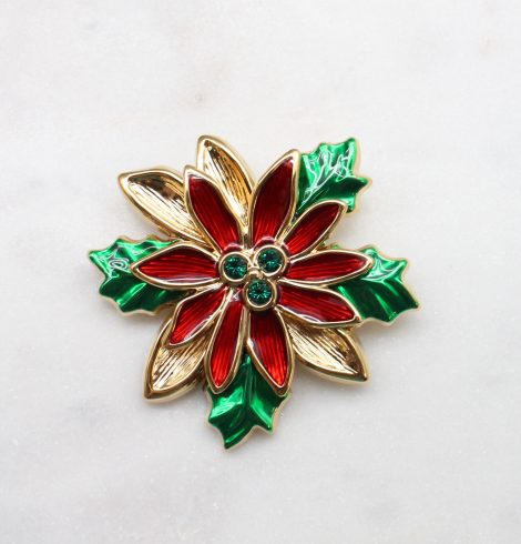 A photo of the Poinsettia Christmas Pin product