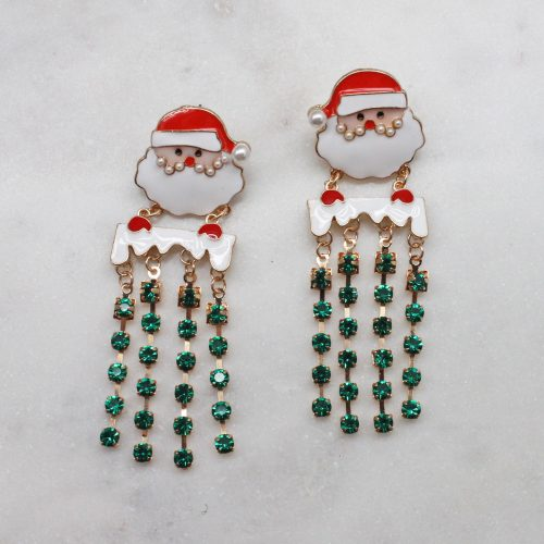 A photo of the Santa Earrings In Green product