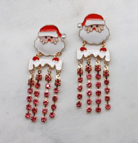 A photo of the Santa Earrings In Pink product