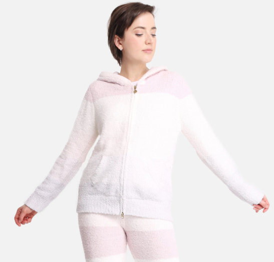 A photo of the Comfy Luxe Zip Up Jacket In Pink product