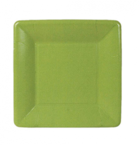 A photo of the Grosgrain Square Paper Salad/Dessert Plates In Moss product