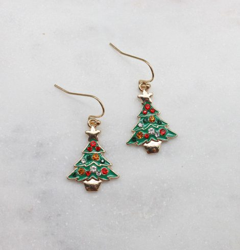 A photo of the Tiny Christmas Tree Earrings product