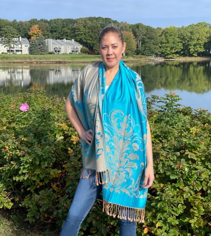 A photo of the Turquoise Floral Pashmina product