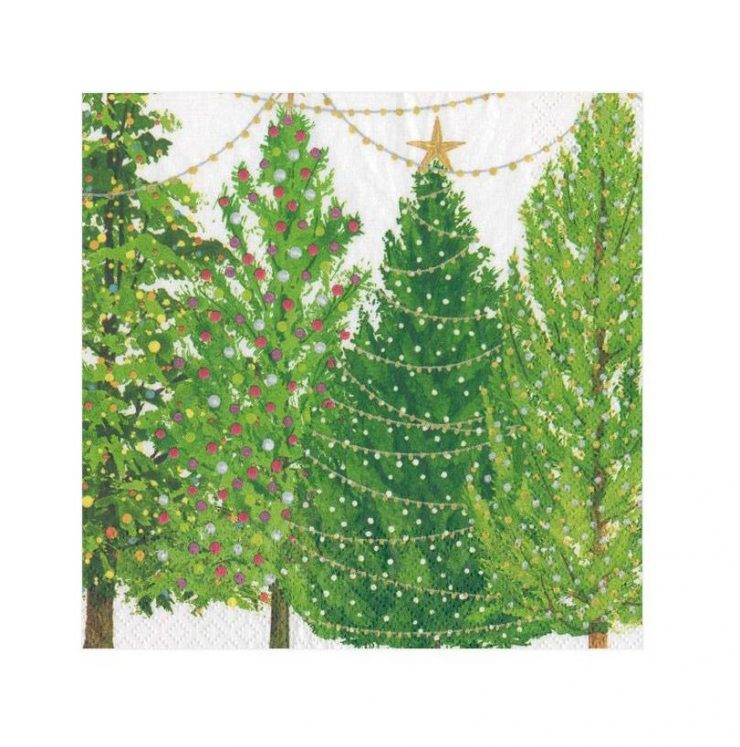 A photo of the Christmas Trees With Lights Cocktail Napkins product
