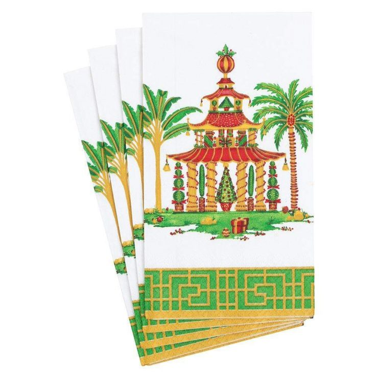 A photo of the Christmas Pagodas Guest Towel Napkins product
