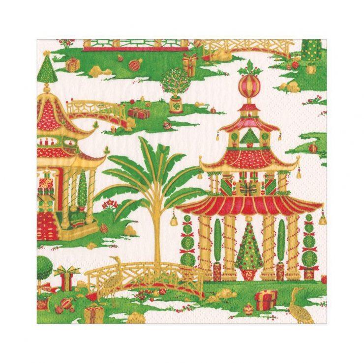 A photo of the Christmas Pagodas Luncheon Napkins product