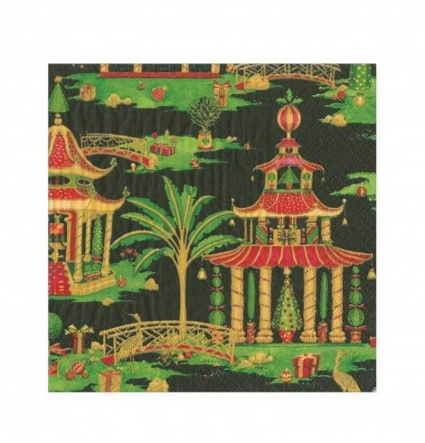 A photo of the Christmas Pagodas Cocktail Napkins In Black product