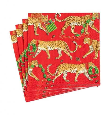 A photo of the Christmas Leopard Cocktail Napkins In Red product