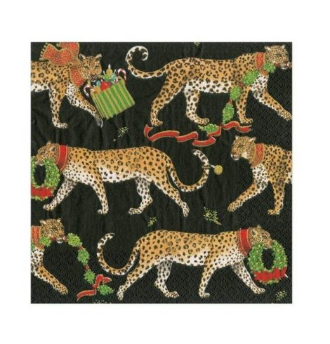 A photo of the Christmas Leopards Cocktail Napkins In Black product