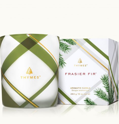 A photo of the Frasier Fir Frosted Plaid Medium Candle product