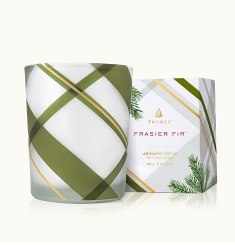 A photo of the Frasier Fir Frosted Plaid Votive Candle product