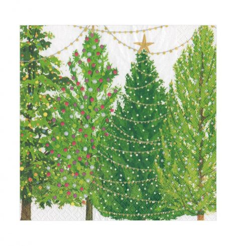A photo of the Christmas Trees With Lights Luncheon Napkins product